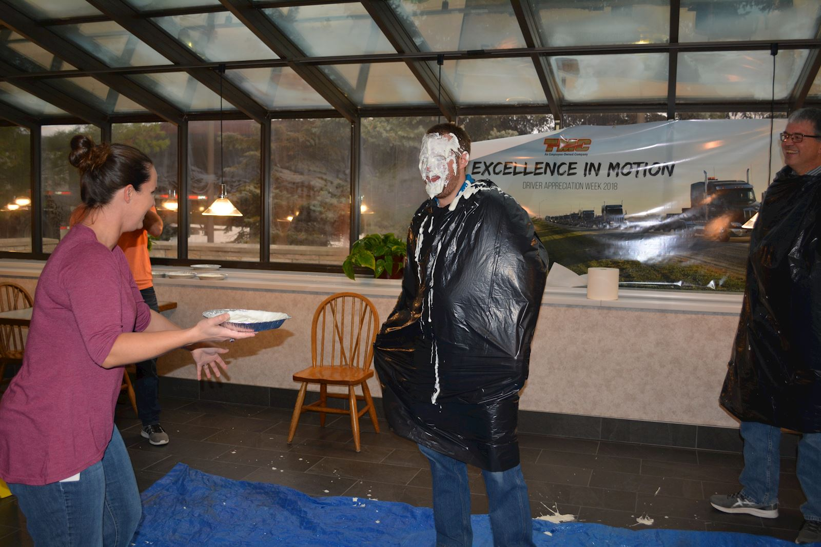 food drive pie in the face