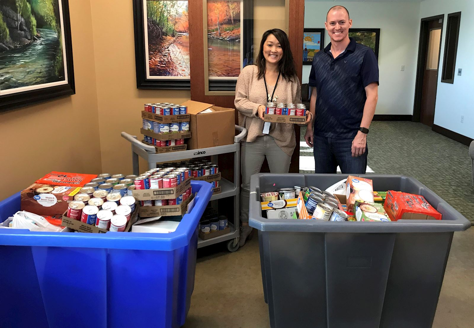 food drive bentonville non-perishable collecting donations office contest employee